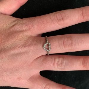 Silver plated diamond heart ring